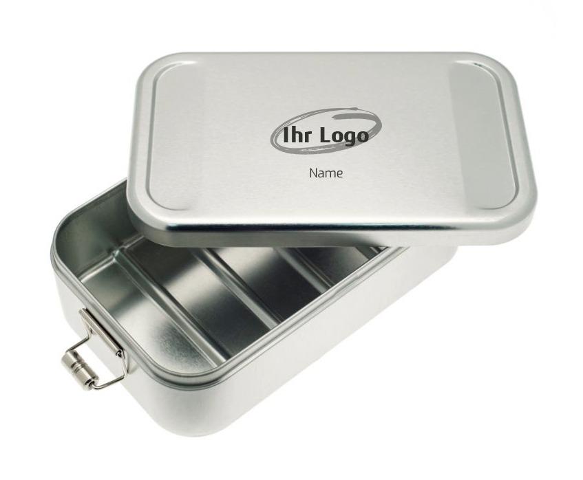 Metall Vesperdose graviert mit Logo als Werbeartikel für Mitarbeiter und Kunden