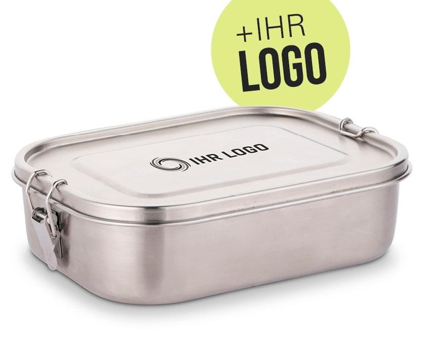 Lunchbox mit Logo individuell graviert - Personalisierte Vesperdose aus Edelstahl als Werbemittel oder Mitarbeitergeschenk