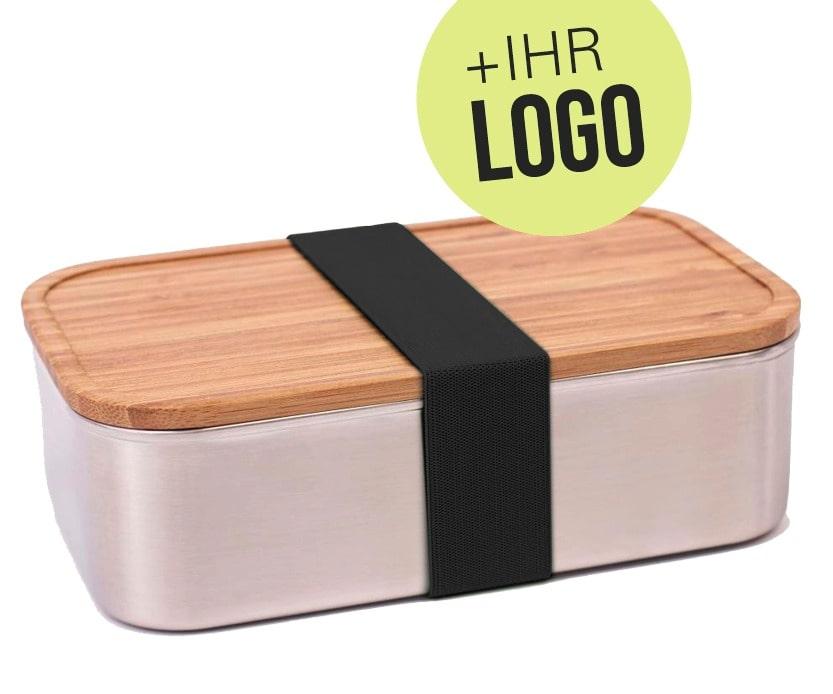 Vesperdose mit Holzdeckel individuell graviert mit Logo für Mitarbeiter personalisiert