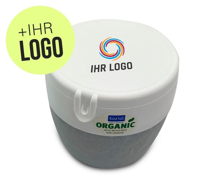 Werbegeschenk Salatbox aus nachhaltigem Material bedruckt mit Logo