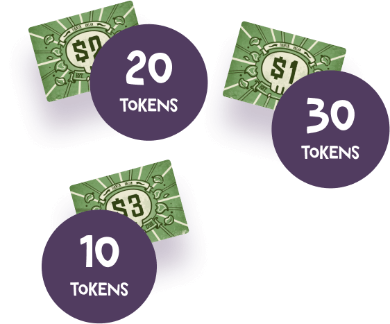 Money tokens that are included in the Buurn game