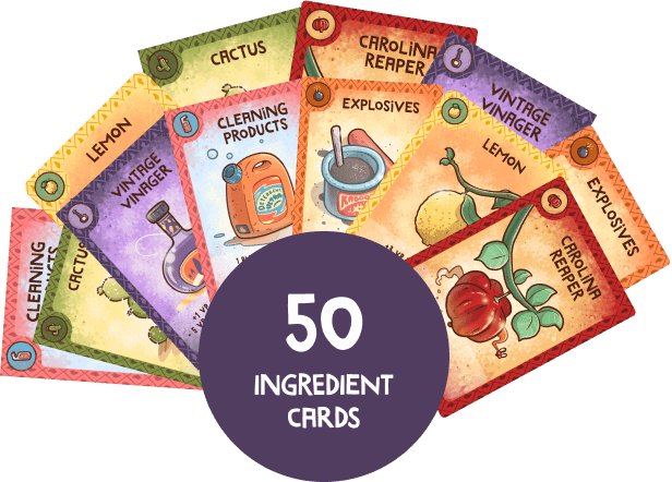 A set of cards with 6 cards in front showing the ingredients of the game