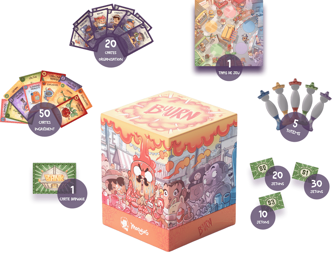 A cute cubic box of the Buurn game with all the game components all around