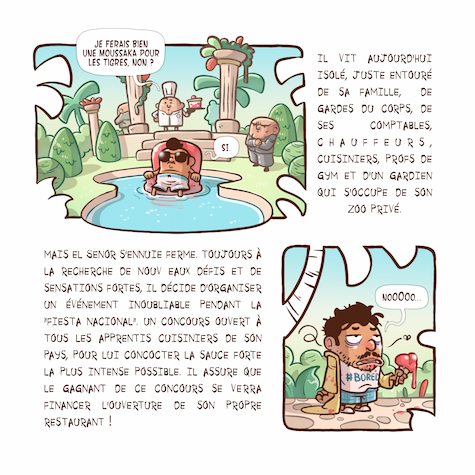 A comic book 2nd page with text and illustrations
