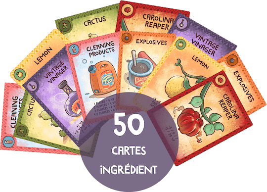 Set of cards of the Buurn game with 6 cards in front showing ingredients of the game.