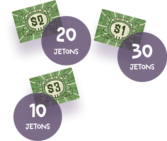 3 sort of tokens included in the Buurn game representing the money