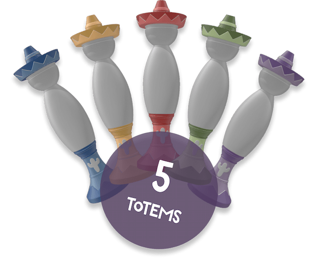 5 totems in different colors that are included in the Buurn game