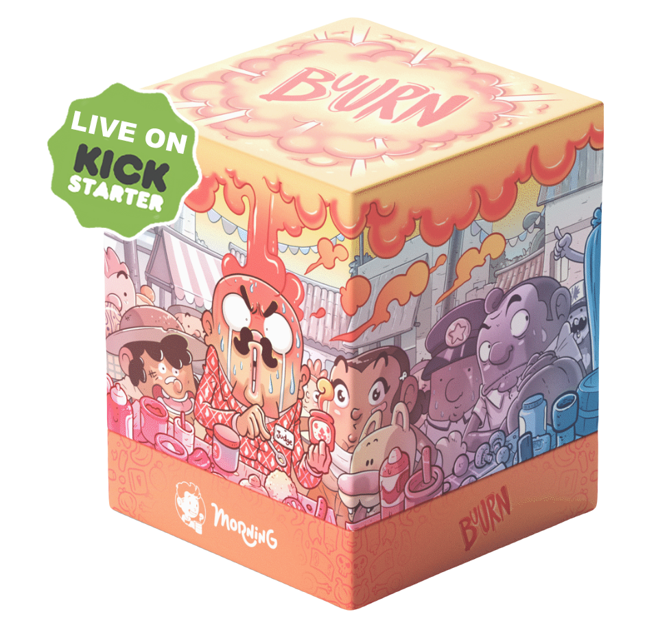 """A cute cubic box of the Buurn game with a badge on top left saying : 'Live on Kickstarter"""""""