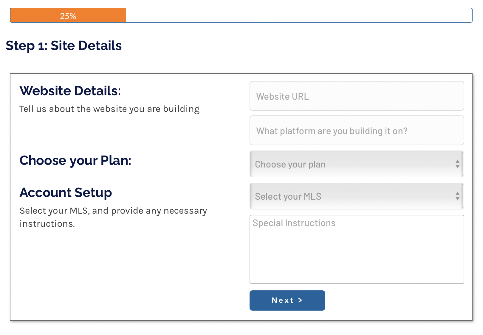 Adding a site in RealtyEngine's Portal