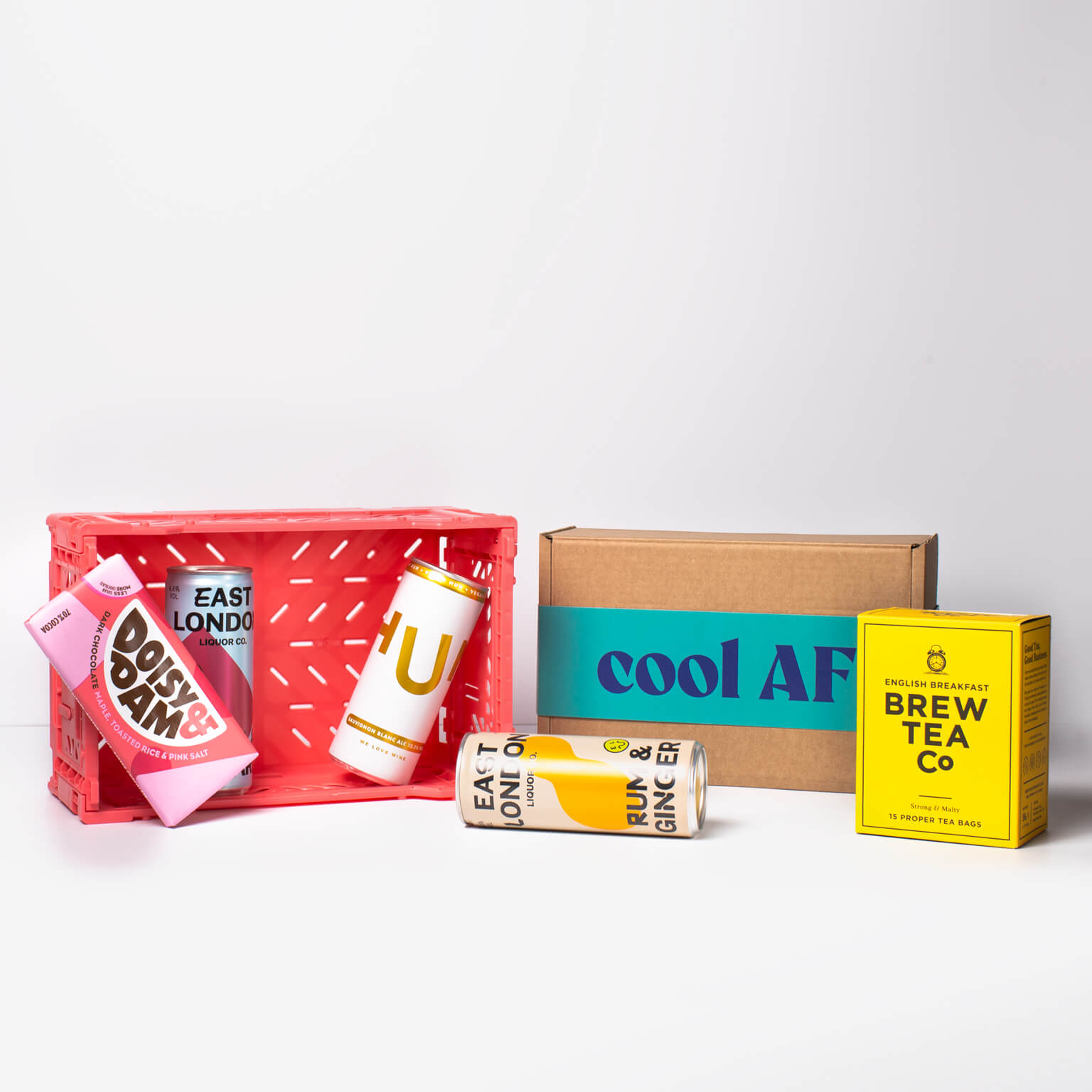 """A selection of products from East London Liquor Company, Hun Wines, Brew Tea Co. & Doisy & Dam as well as our beautiful box - """"cool AF"""""""
