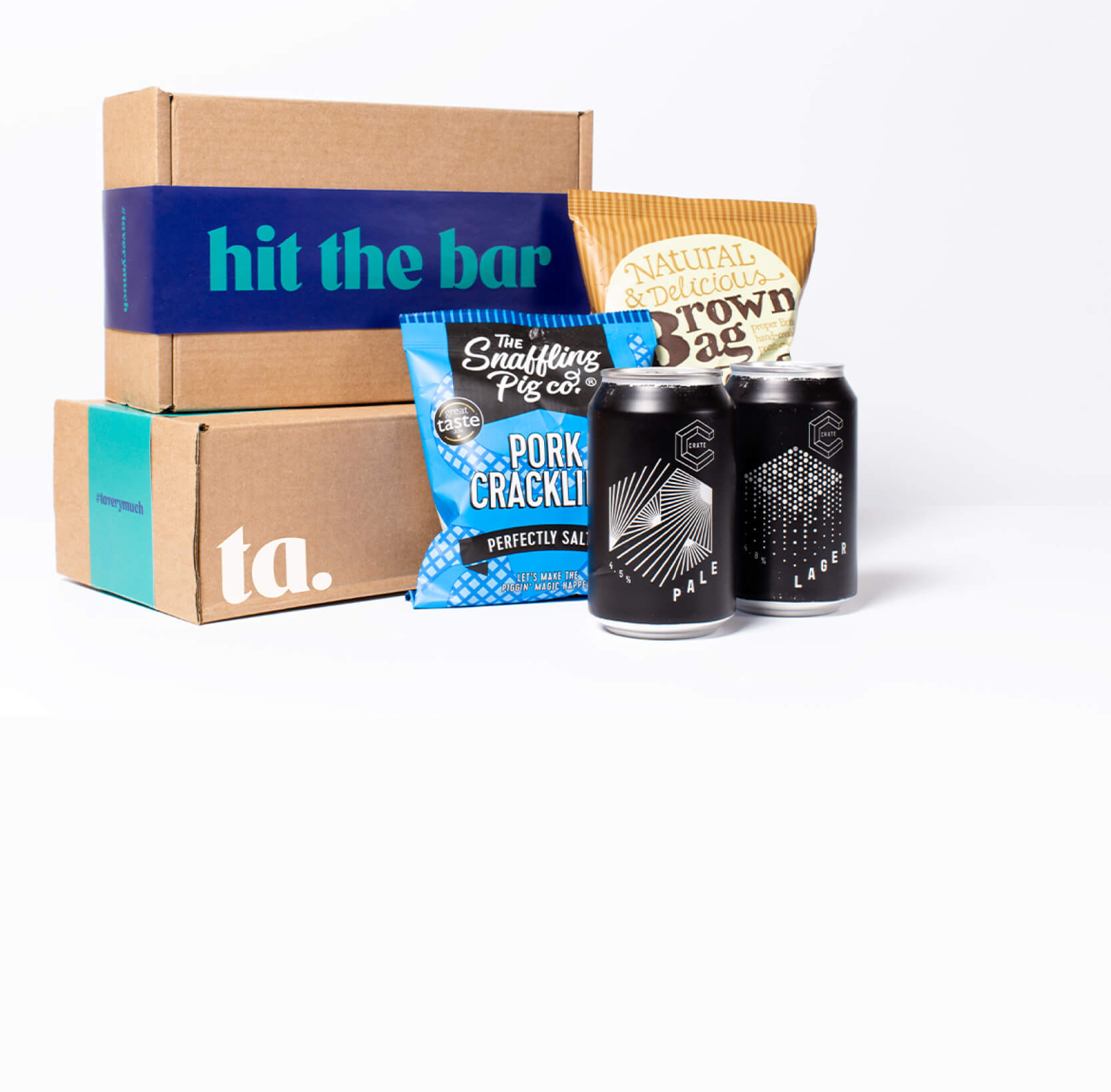 """""""hit the bar"""" ta. gift box. Includes 2 cans of Crate Brewery craft beer, Snaffling Pig pork scratchings & Brown Bag crisps."""