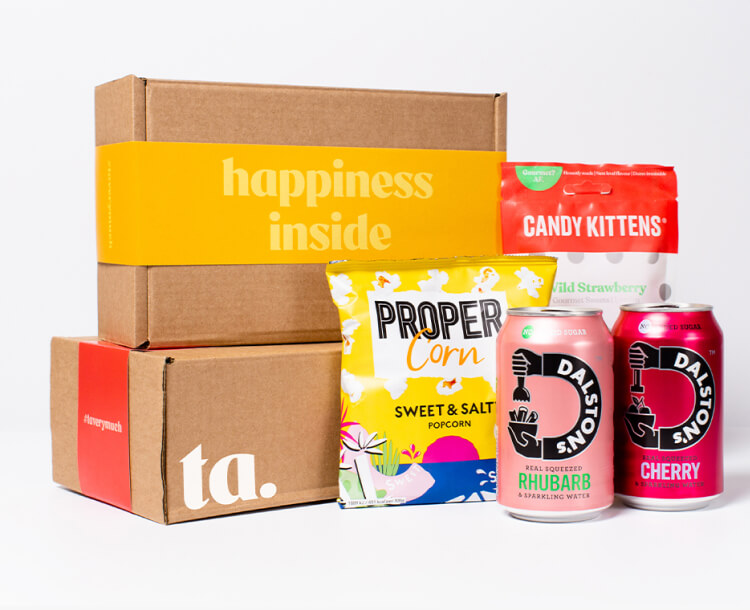 """""""happiness inside"""" ta. gift box. Includes 2 cans of Dalston's soft seltzer, Candy Kitten sweets & Propercorn Popcorn."""