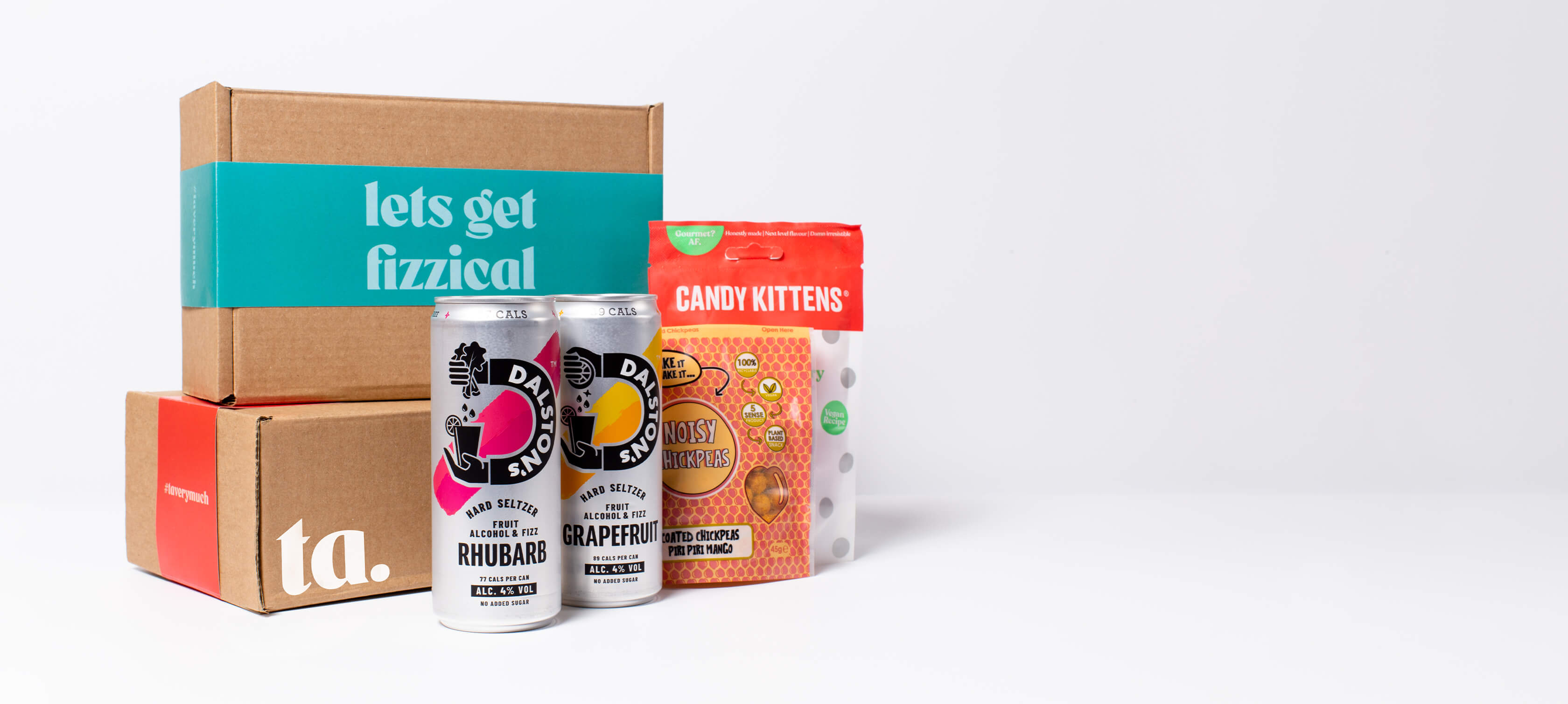 """""""lets get fizzical"""" ta. gift box. Includes 2 cans of Dalston's hard seltzer, Candy Kitten sweets & Noisy Snacks."""