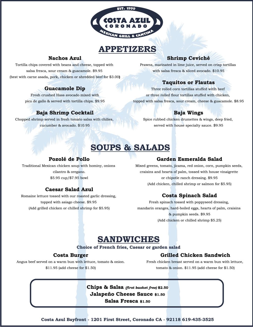 Costa Azul Menu Part 1