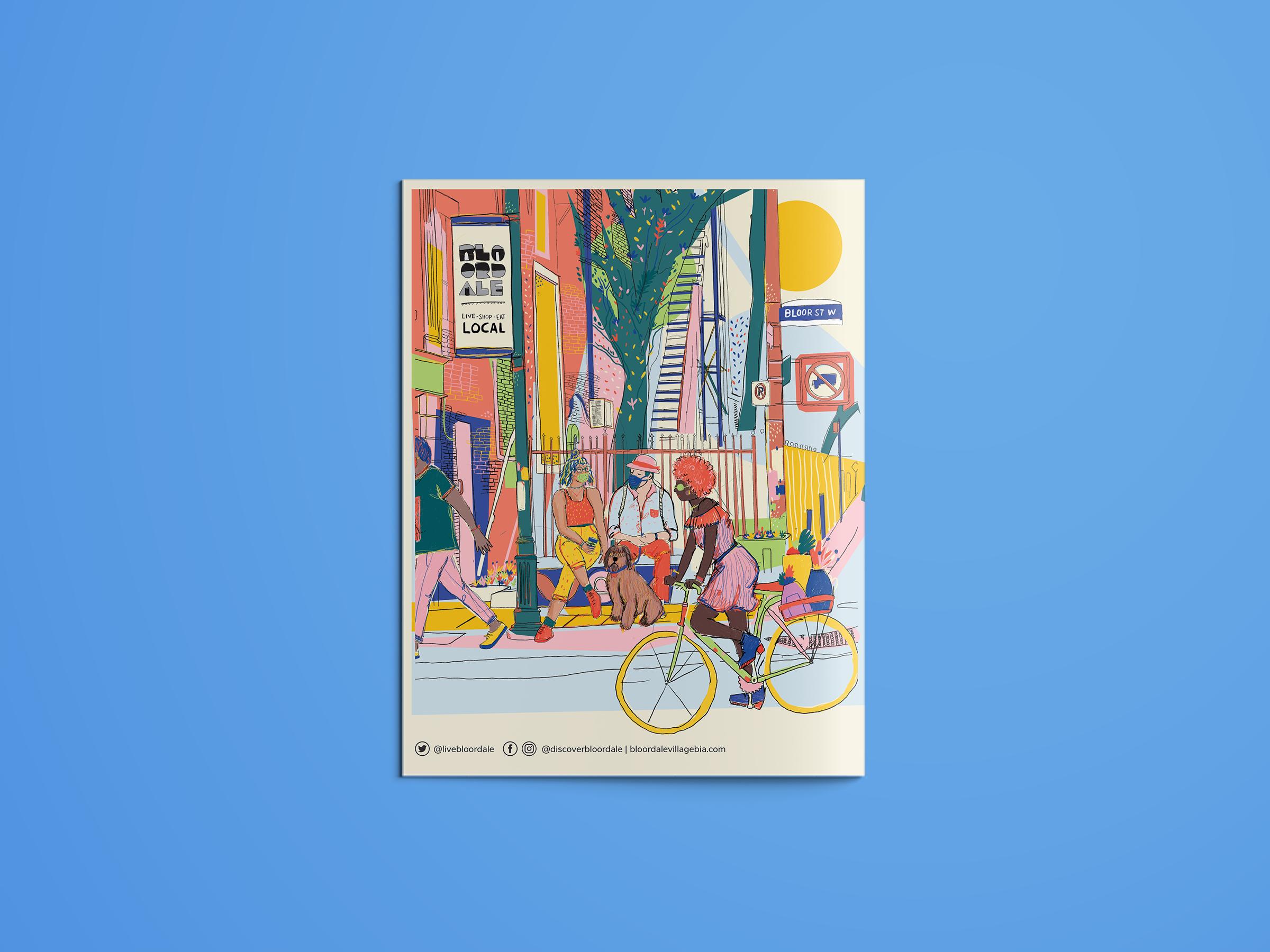 Back of a magazine. A colourful scene f someone biking through a neighbourhood.