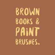 Brown Books & Paint Brushes