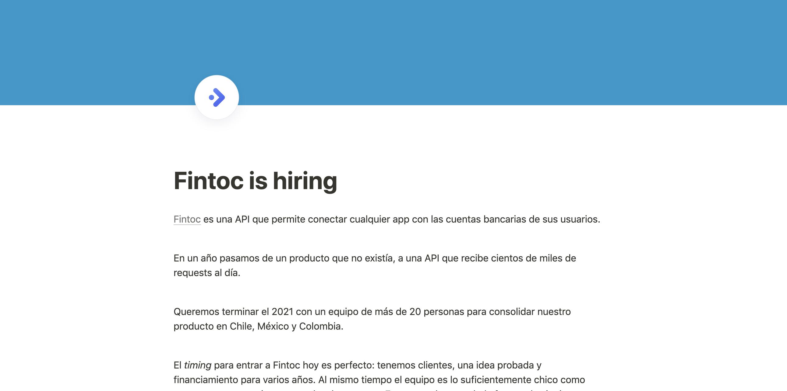 隆Fintoc is hiring!