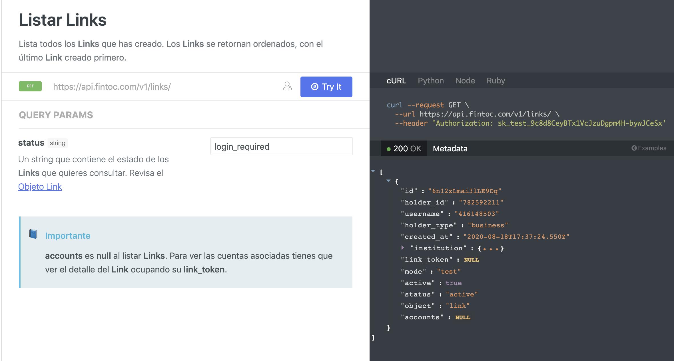 Status of an API link