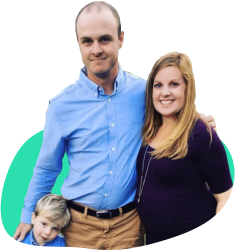 A picture of Matthew M, a BillFixers customer, smiling with his wife and child, to accompany his testimonial.