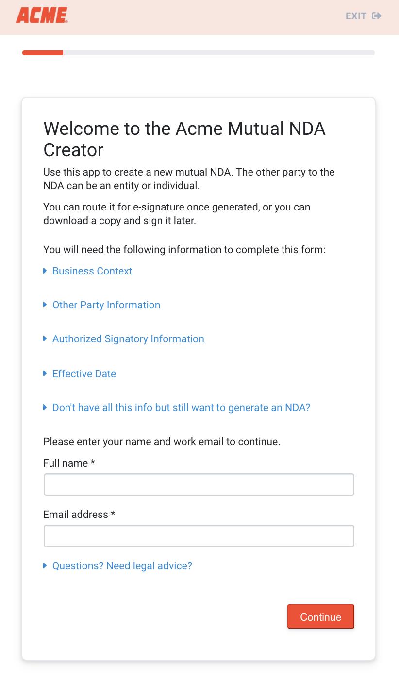 Screenshot of customer-branded NDA creator legal app from Digitize Legal