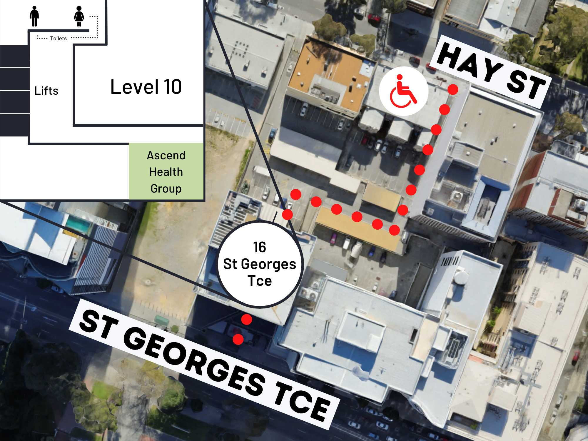 Image of accessing the building at 16 St Georges Terrace in Perth and the location of Ascend Health Group on Level 10