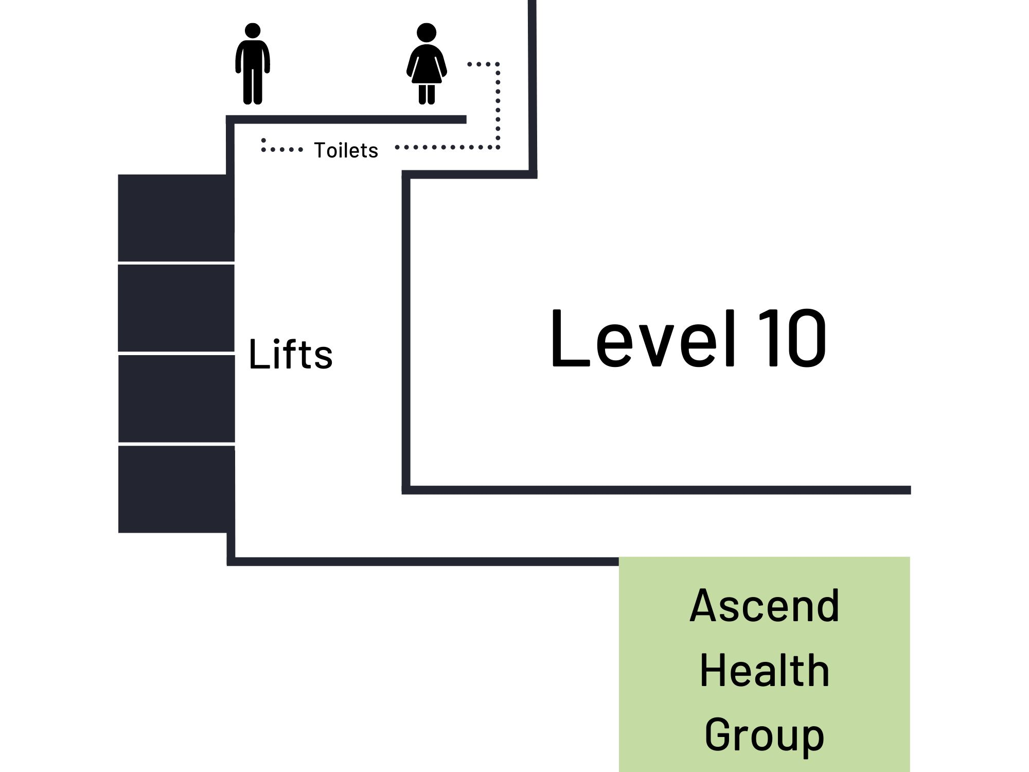 Close up image of the location of Ascend Health Group on Level 10