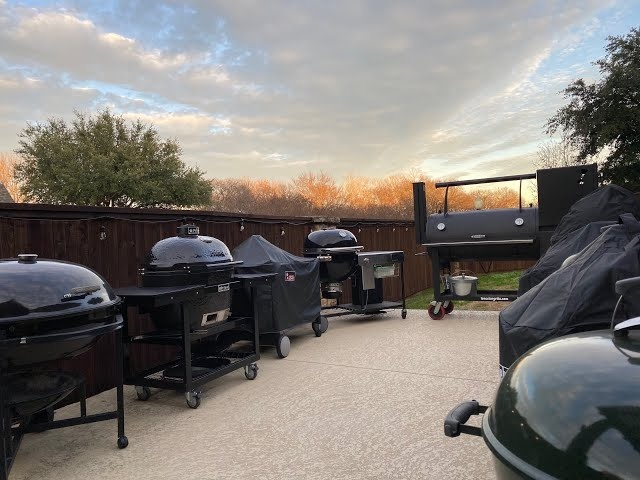 All My Grills! Big Green Egg, Kamado Joe, Weber Summit Charcoal Grill, WSM Akorn Jr LSG Ranch Kettle