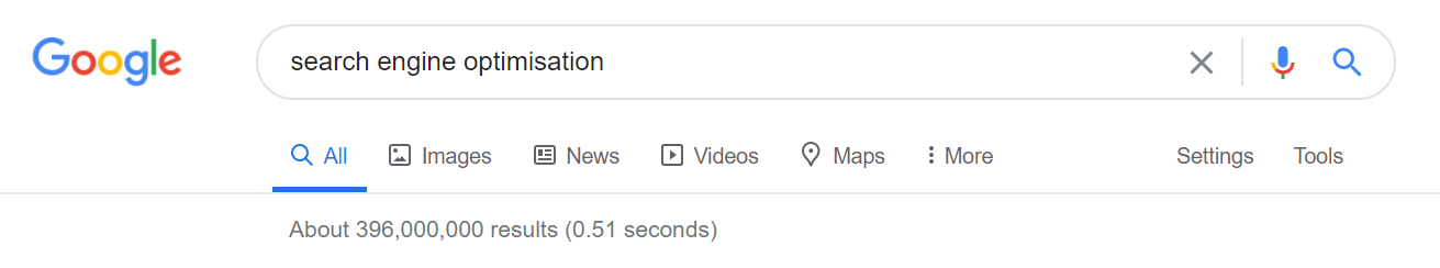 An image of the Google search bar