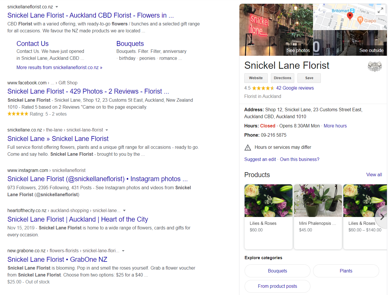 Example of a optimized Google My Business page