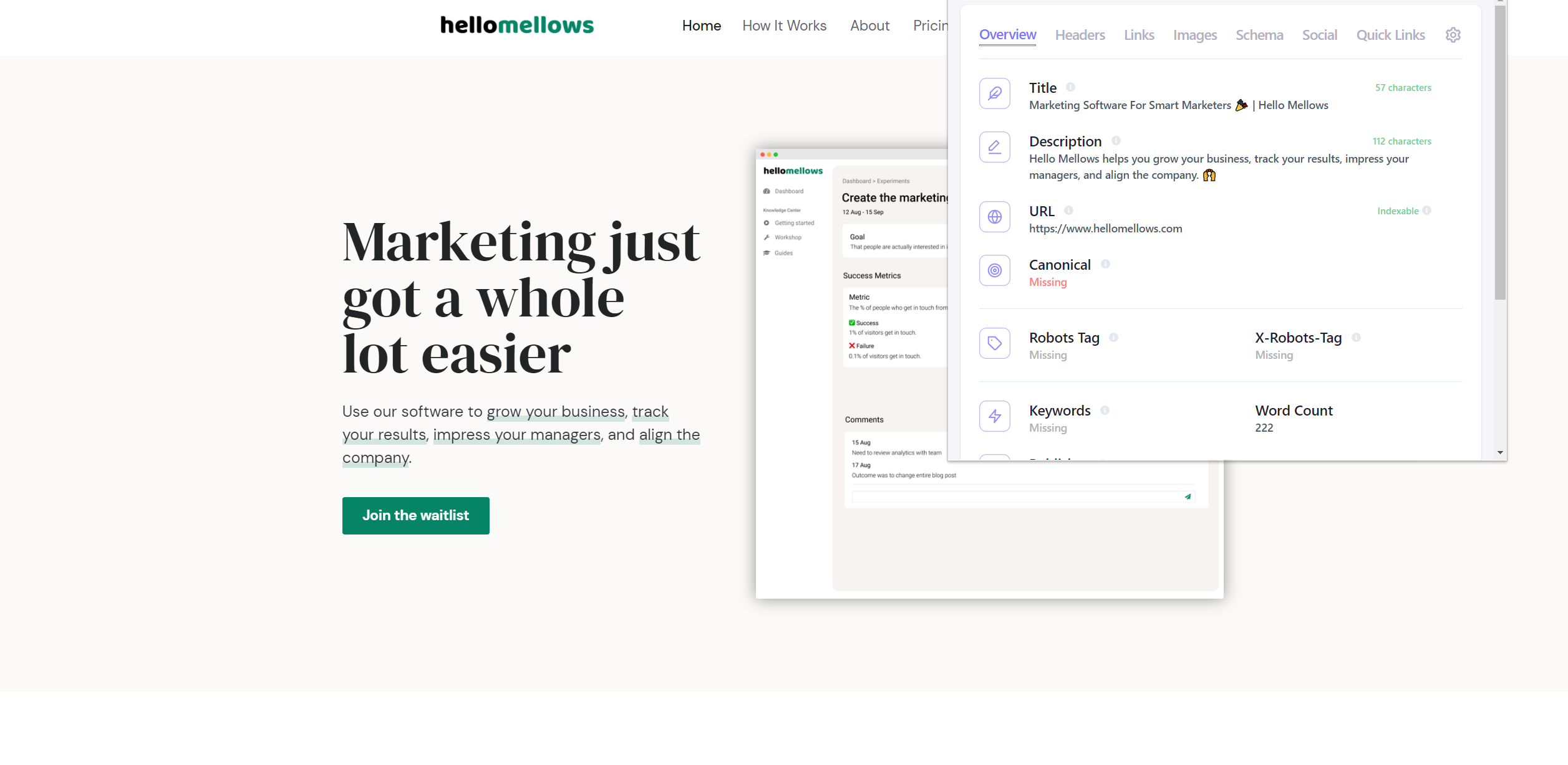 The Hello Mellows homepage with Detailed's SEO extension