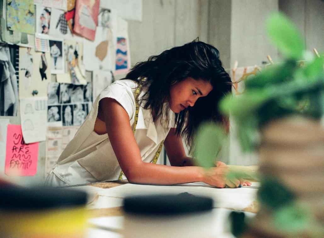 A women doing creative work in a studio