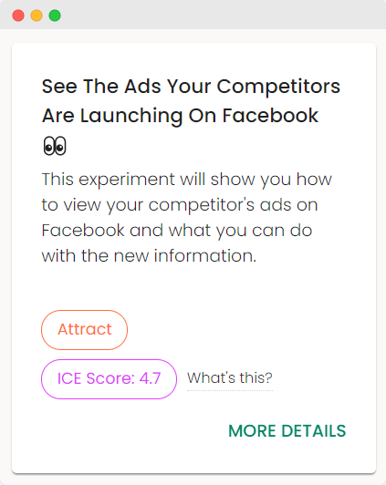 An example of an experiment about seeing competitor ads on Facebook