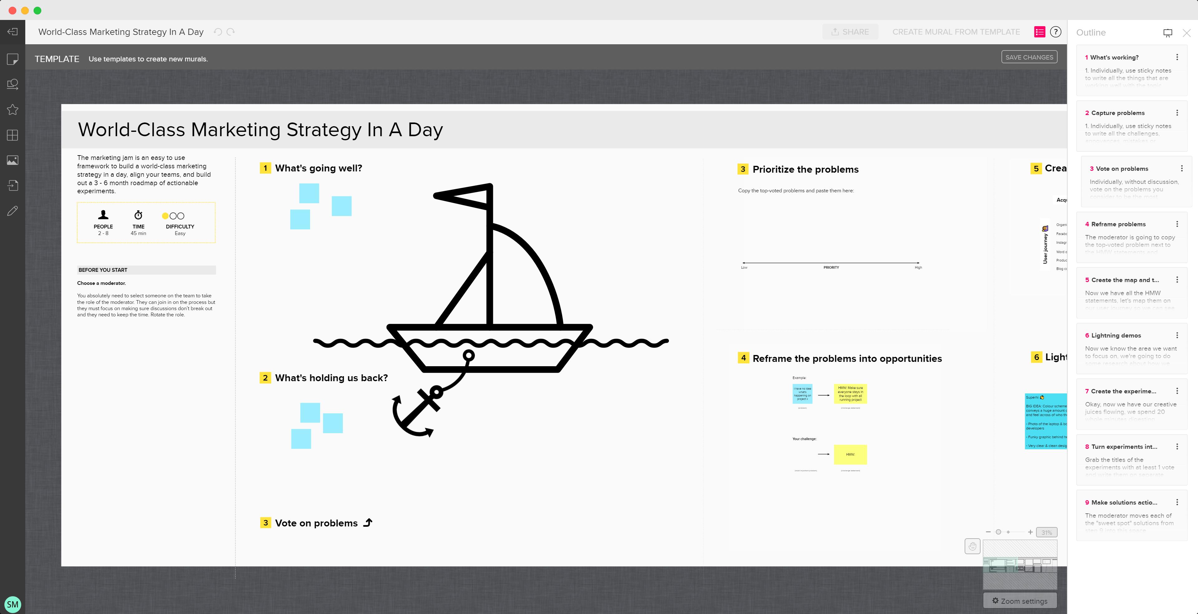 Screenshot of the workshop template