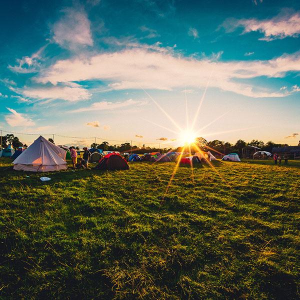 sunrise at festival campsite