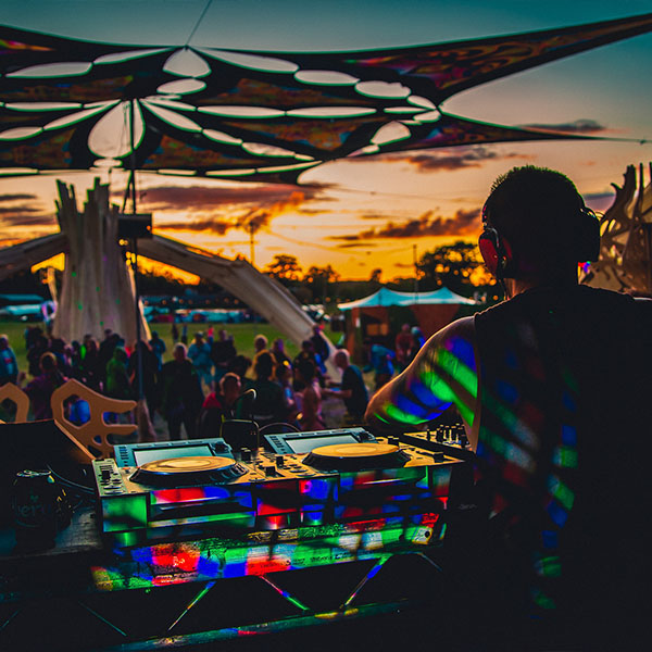 sunset at festival