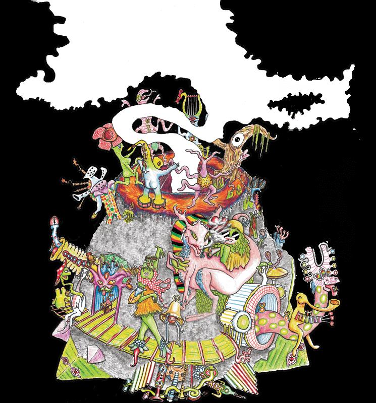 planet taika with smoke and characters