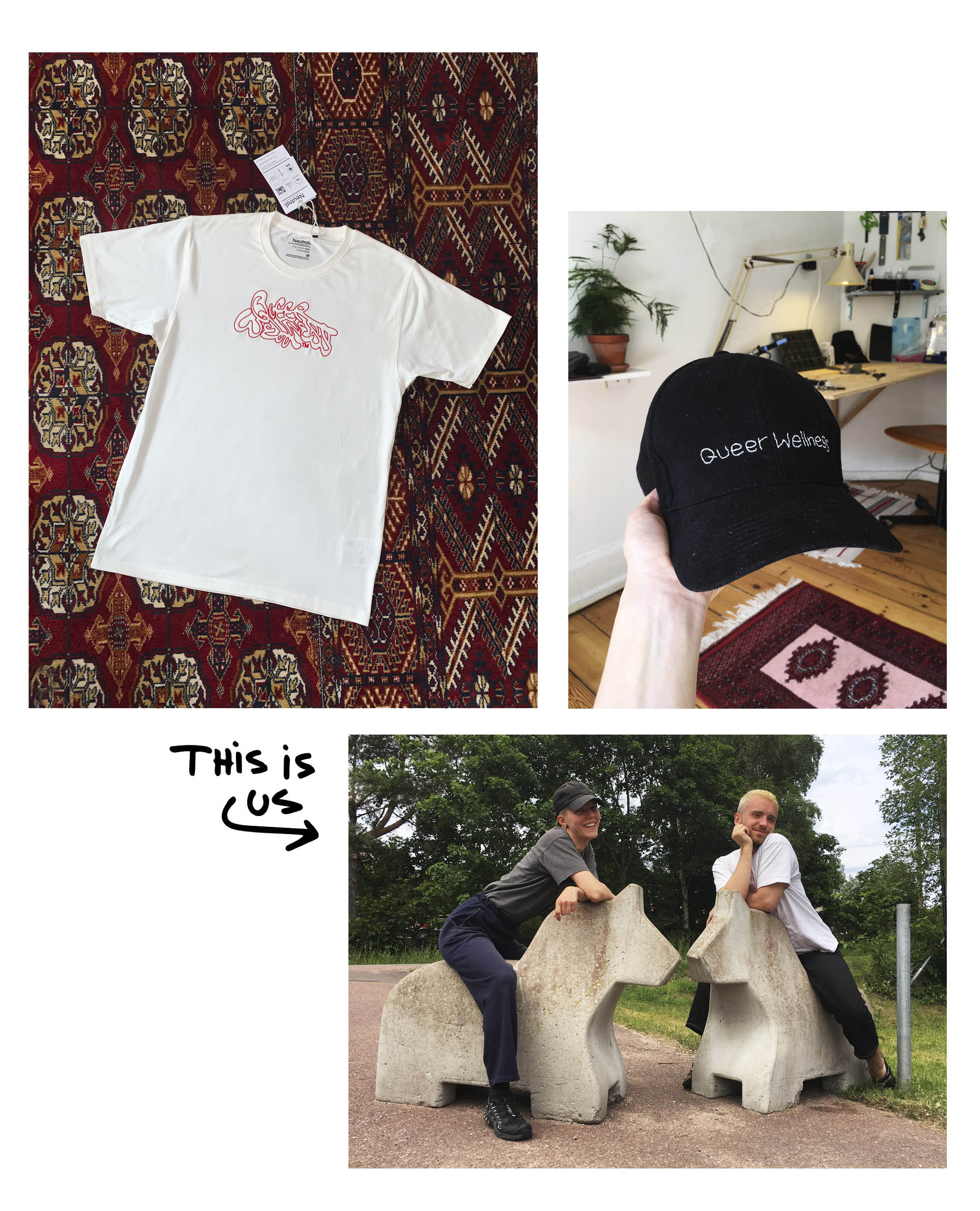 A white t-shirt with red queer wellness embroidery on a red persian carpet.  A black embroidered baseball cap. Photo of the founders Oline Marie Andersen and Max Steen on two horses made of stone.