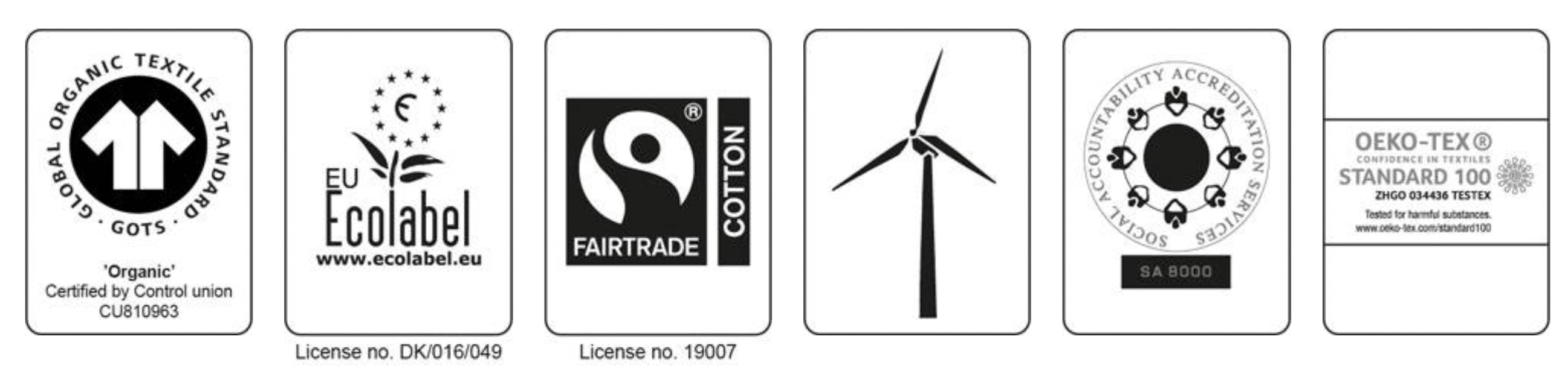 Neutral Certified Organic six different certificates logos