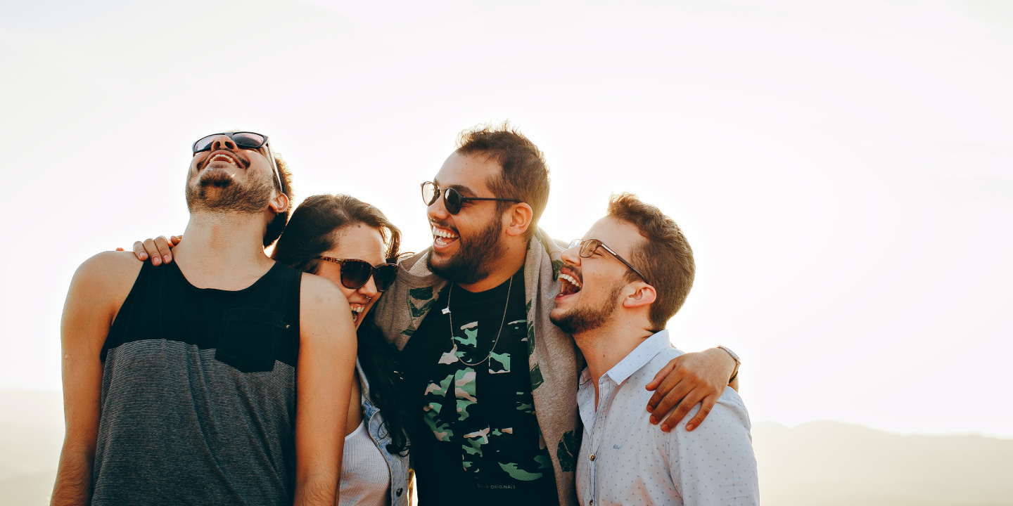 A group of people laughing