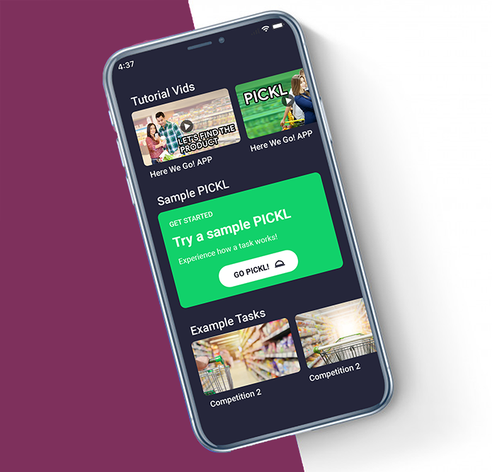 PICKL App for Shoppers who want to earn $5 in 5 minutes by taking pictures in stores