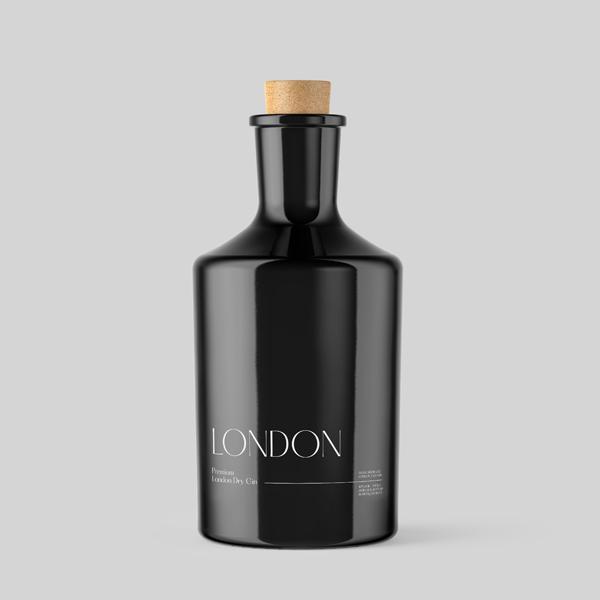 London Dry Gin black Bottle.