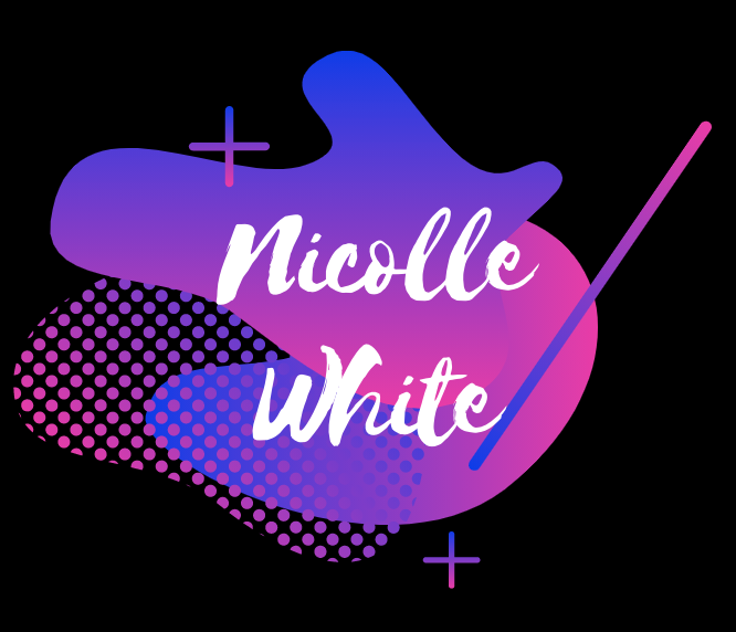 Nicolle White Logo, blue, purple, and pink