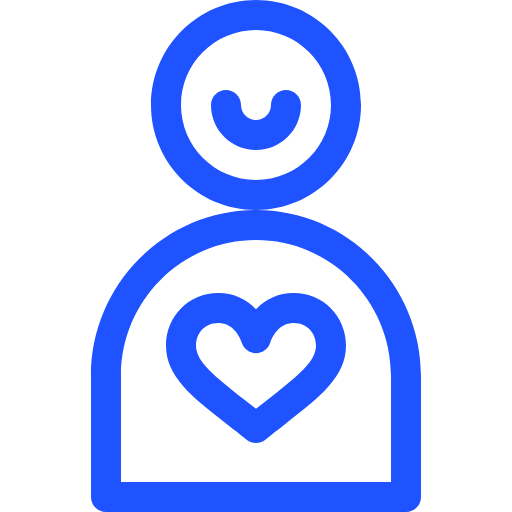 Volunteer Logo (A blue silhouette with a blue smile and a blue heart)