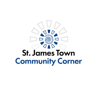 Circular logo with white background. The writing says St. James Town Community Corner.