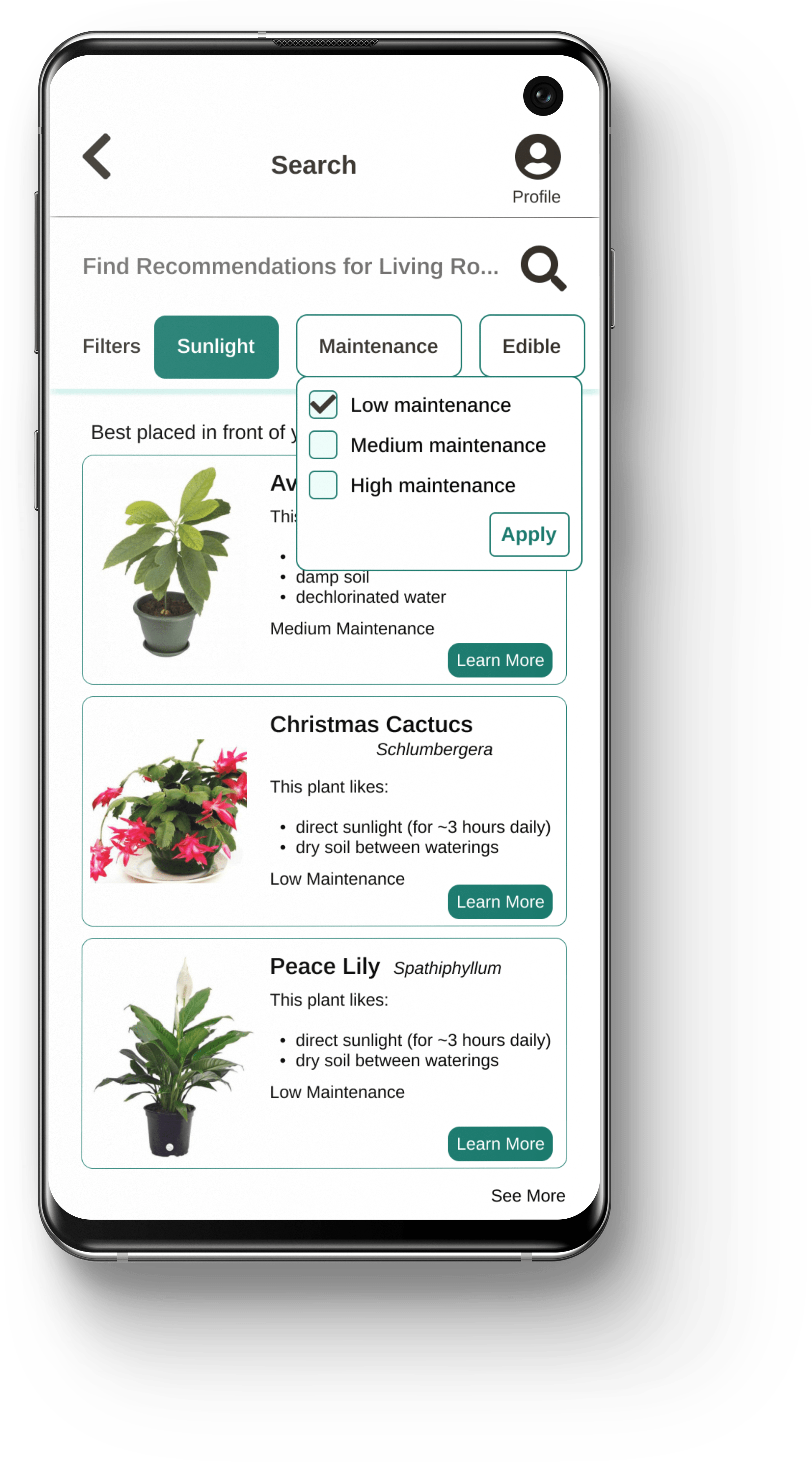 Image of Prototype. This is the search function of the app where plants are recommended based on lighting in your space or other filters applied.