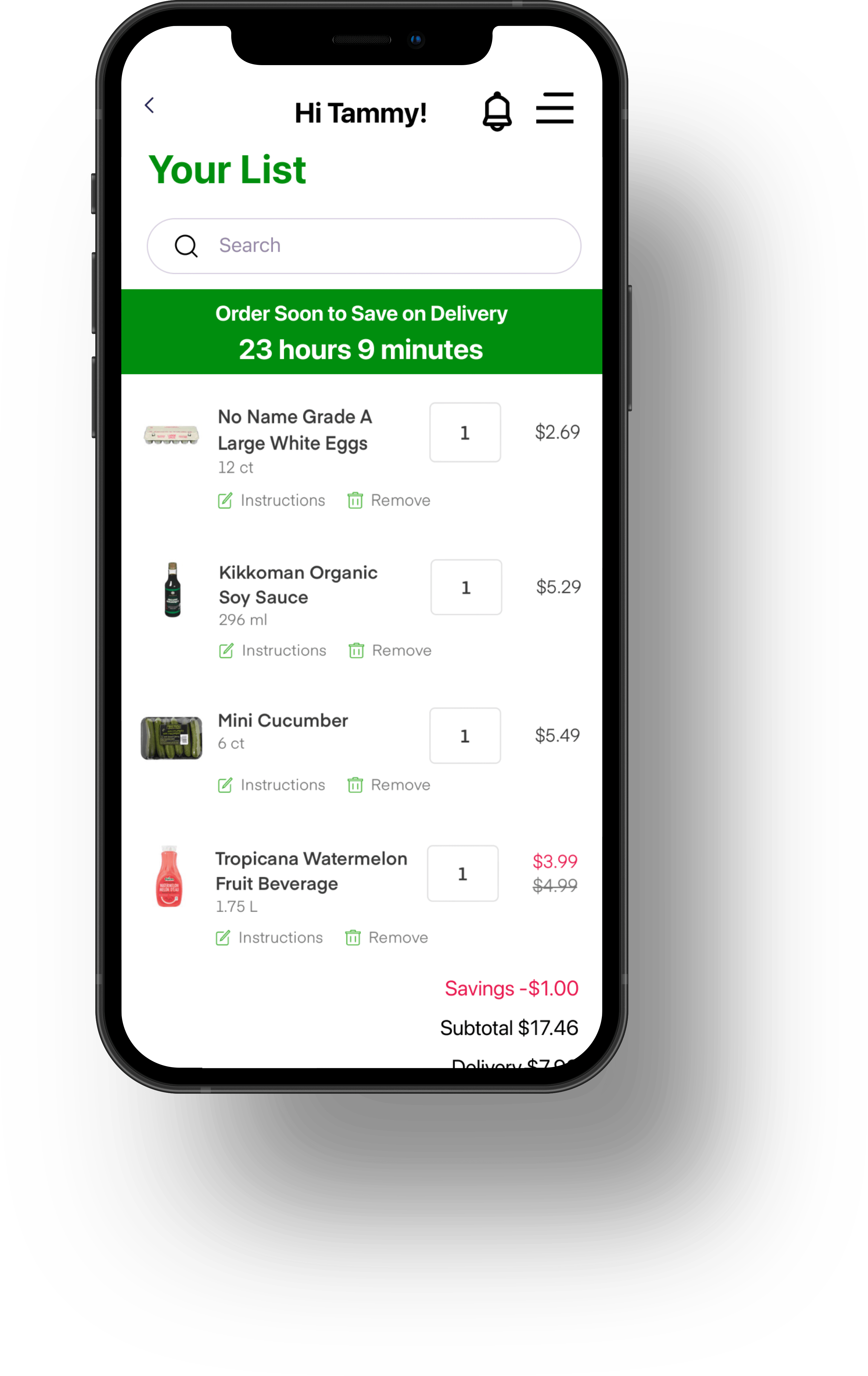 A prototype image of the checkout function of the Walmart grocery delivery app