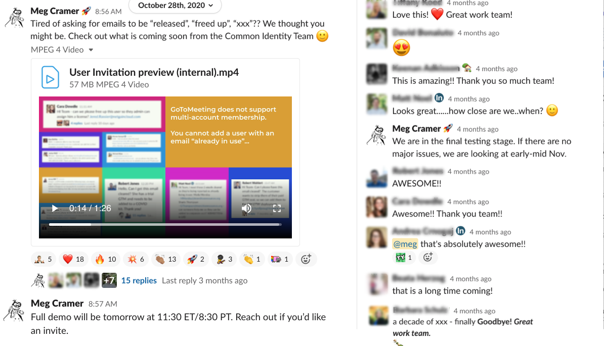 """Slack chat announcing the new feature. replies such as """"This is amazing!! Thank you so much team"""" and """"That's absolutely awesome"""""""