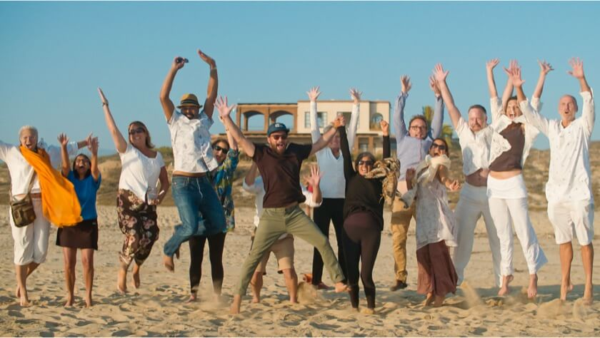 A Group of People Jumping In the Air