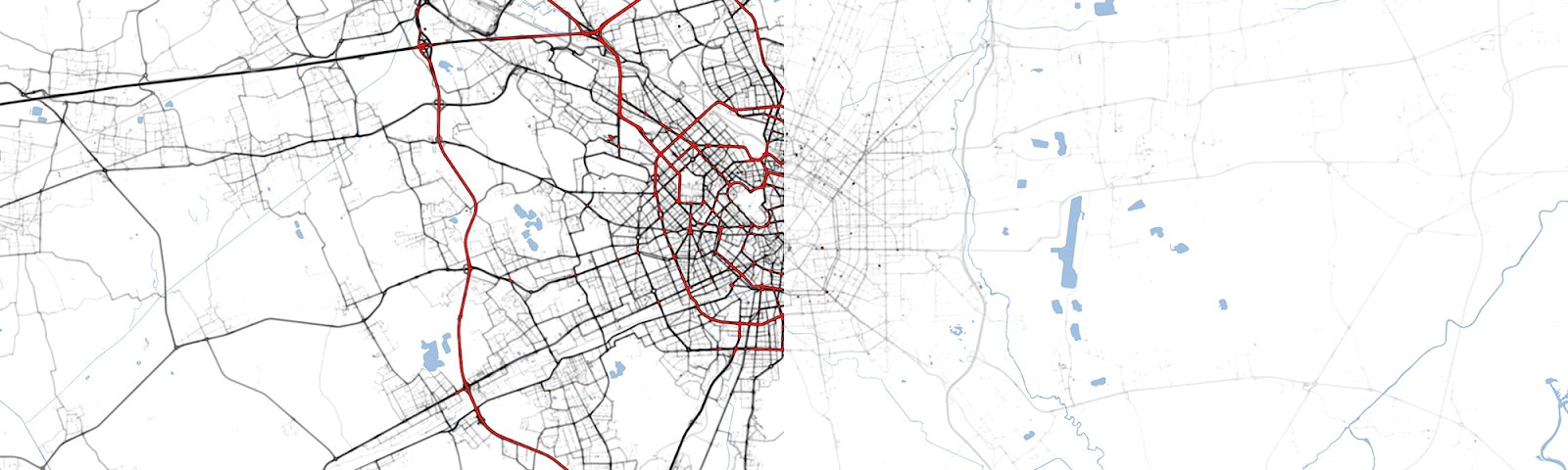 a map of Milan with high density and congestion on the left side (Janury, 2020) and low density on the right (April, 2020)