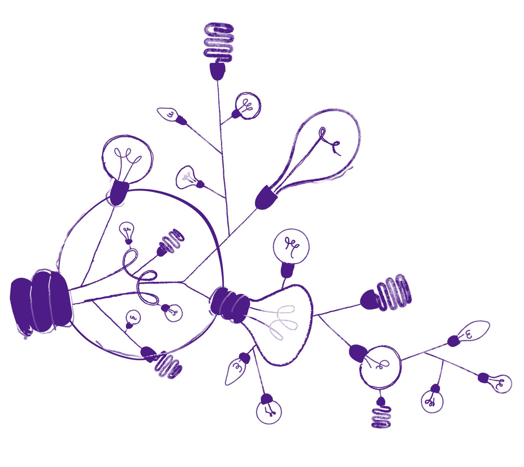 Rysunek tuzina zapalonych żarówek połączonych ze sobą na wzór konaru drzewa